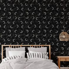 Moon Pattern Peel and Stick Wallpaper - Canvas Wall Decal / 1 roll: 24W x 108H