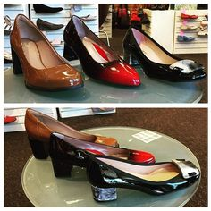 Trend alert! Today we're featuring these 3 patent leather beauties all with chunky square heels to make you feel stable comfortable and stylish. A triple threat! @beautifeel_official @clarksusa #frenchsolefsny #fsny #shoes #instashoes #simonsshoes #fashion #style #shopping #fall #heels