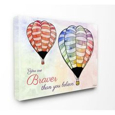 The Kids Room by Stupell Watercolors You Are Braver Hot Air Balloons Stretched Canvas Wall Art ** Want to know more, click on the image.