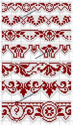 #filetcrochet #filetlace #crochet Cross Stitch Borders, Cross Stitch Charts, Cross Stitching, Cross Stitch Embroidery, Cross Stitch Patterns, Knitting Charts, Knitting Yarn, Knitting Patterns, Crochet Patterns