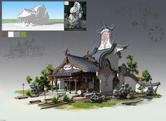 Environment Concept Art, Environment Design, Fantasy Illustration, Landscape Illustration, Buildings Artwork, Building Concept, Building Design, Building Layout, Bg Design