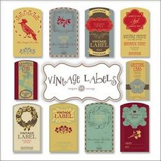 free vintage labels- wonder if you can print what you want on them?