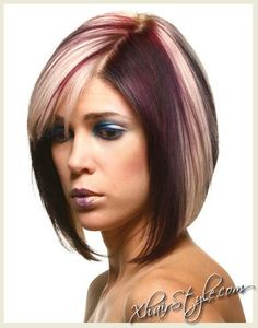 medium bob with burgundy and blonde color