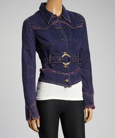 Loving this B Jeans Indigo Belted Denim Jacket on #zulily! #zulilyfinds