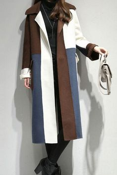 YouShop123 Notched Collar Long Sleeve Coat Brown