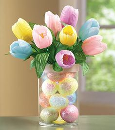 Lighted Floral Easter Tulips in Glass Vase http://webshop.diyland.org/product/lighted-floral-easter-tulips-in-glass-vase/