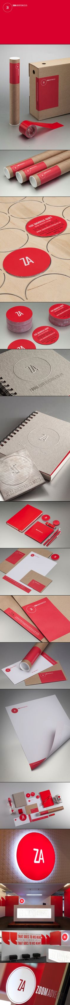 Zoom Corporate // An identity system for Zoom Advertising agency, the logo is very minimalist, simple, clear and yet very strong visually and the color red is very appropriate here because it is a strong color that symbolizes power, desire, energy and passion which are things advertising agencies long to deliver in their work. The logo looks very good on different mediums as well.