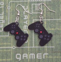 GIRL GAMER Playstation Video Game Controller Earrings. £6.00, via Etsy.