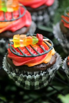 Celebrate your dad's love—and grilling skills—with these fun baked cupcakes.