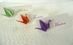 10 Marques place grue en origami orange / violet / vert pour mariage - baptême - anniversaire - papillon vert en papier - décoration