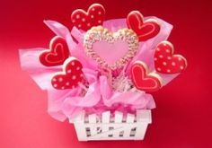 Valentine's day cookie bouquet.   http://www.thriftyfun.com/tf/ValentinesDay/Recipes/Making-a-Valentine-s-Cookie-Bouquet.html