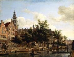 Jan van der Heyden - Gezicht op de Oudezijds Voorburgwal met de Bierkaai en de Oude Kerk