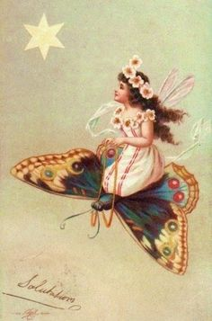 Fairy and butterfly on an antique postcard. - Domains - Ideas of Domains - Fairy and butterfly on an antique postcard. Images Vintage, Vintage Postcards, Collage Vintage, Fantasy Kunst, Fantasy Art, Vintage Fairies, Vintage Roses, Flower Fairies, Fairy Art
