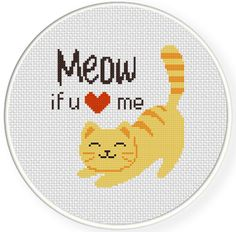FREE for July 28th 2014 Only - Meow If You Love Me Cross Stitch Pattern
