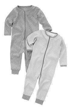 Super fede Name it Pyjamas 2-Pack Gråmeleret Stribet Name it Nat- & hyggetøj til Børn & teenager i dejlige materialer