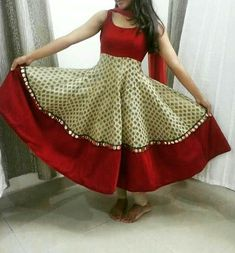 off white brocade anarkali with meroon border and mirror work