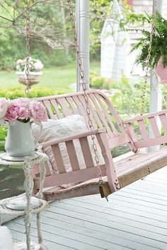 I would love to have a front porch and a lovely pink swing!