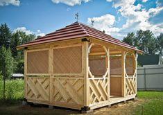 Pergola With Retractable Canopy Backyard Plan, Backyard Playhouse, Gazebo Plans, Shed Plans, House Balcony Design, Pergola Screens, A Frame House Plans, Timber Cladding, Dome House