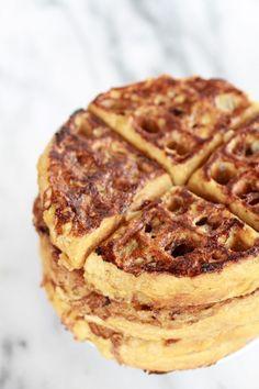 Caramelized coconut banana bread waffle.