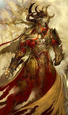 Demon fire knight art illustration