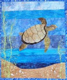 how to do crazy patchwork Ocean Quilt, Beach Quilt, Landscape Art Quilts, Landscape Designs, Landscapes, Beach Themed Quilts, Sea Turtle Quilts, Hawaiian Quilts, Tropical Quilts