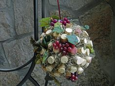 """DIY Ceremony Aisle Pomanders (approx 8 - 10 total) 5"""" Foam Core, More Wine Corks, Artificial Spanish Moss, Artificial Grapes and Leaves"""