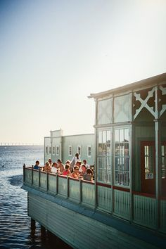 The sea-green terrace at Café at Ribersborgs Kallbadhus in the Swedish city of Malmö.
