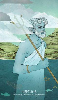 """Neptune"" by Taryn Gee Oracle Tarot, Oracle Deck, Constellations In The Sky, Ancient Myths, Grey Art, Major Arcana, Tarot Decks, Cool, Art World"