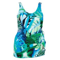 Palm Paradise Front Skirted Tank Swimsuit