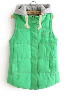 Green Zipper Collar With Hat Thick Cotton Vest