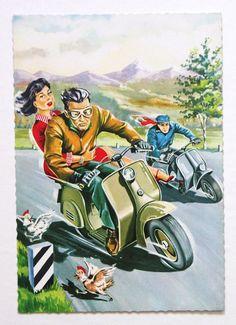 Vintage 1950s VESPA Scooter postcard Lambretta by scooterotica