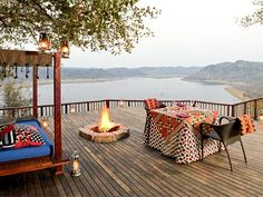 Singita Pamushana Lodge ★★★★★ Malilangwe Wildlife Reserve, Zimbabwe - dusk on the deck Most Romantic Places, Victoria Falls, Africa Travel, Lodges, Traveling By Yourself, Safari, Cool Photos, National Parks, Outdoor Decor