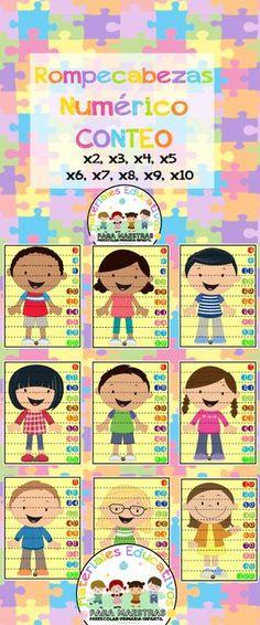 Rompecabezas de números para conteo. Puzzle de tablas de multiplicar para aprender las tablas de una forma divertida.