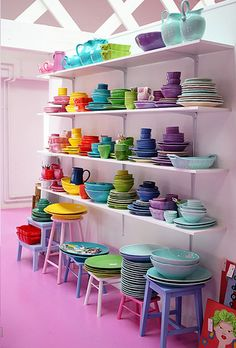 Colorful stacks of porcelain dishes, beautifully styled for shot. Take notes for future Etsy shots.