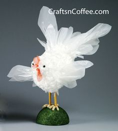 CraftsnCoffee.com shows us how to make a chicken from grocery bags.  So if you are not recycling you can hide the evidence.