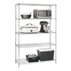 Make over any cluttered space in an instant with this five-tier shelving unit from Prospace. This functional unit features a durable metal frame, a polished chrome finish and five wide shelves. You will love the sleek, industrial look of this unit. It works great in the pantry, basement, storage room, garagejust about anywhere you need to organize and tidy up your space.