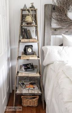 Repurpose an old ladder for multiple levels Lay some wood planks over those rungs an you've got an instant bookcase full of shelves. (Donna @Funky Junk Interiors)