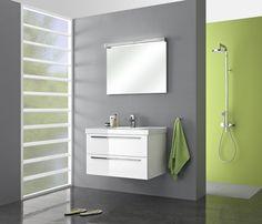 Badmeubel Pelipal Cubic 90 cm met spiegel met verlichtingskap. Design meubel met rechthoekige wastafel en spiegel met verlichting.