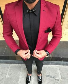 Check out Inherent Clothier shop for Premium Quality Suits! Blazer Outfits Men, Mens Fashion Blazer, Stylish Mens Fashion, Suit Fashion, Fashion Clothes, Red Blazer, Fashion Sale, Fashion Outlet, 80s Fashion