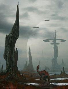The Art Of Animation, Todor Hristov - http://draken4o.deviantart.com... Fantasy Places, Sci Fi Fantasy, Environment Concept Art, Environment Design, Alien Planet, Alien Worlds, Fantasy Inspiration, Story Inspiration, Steam Punk