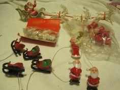 VTG Christmas Plastic Santa/MRS CLAUS/SLEIGH Picks-Lot Of 20-Made in Hong Kong #Unbranded