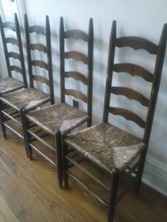 Antique Ladder Back Chairs W/Rush SeatsSet Of 4 By RedHookVintage, $150.00