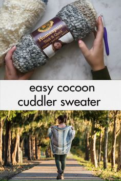 Crochet Cuddler Cocoon Sweater - free pattern - The cuddler cardigan is a beginner friendly sweater made from one big rectangle, using just one stitch throughout. This snuggly free crochet pattern is a great project for first time garment makers! Crochet Coat, Crochet Cardigan Pattern, Crochet Shirt, Crochet Clothes, Crochet Cocoon Pattern, Baby Boy Knitting Patterns, Crochet Patterns, Loom Patterns, Cocoon Sweater