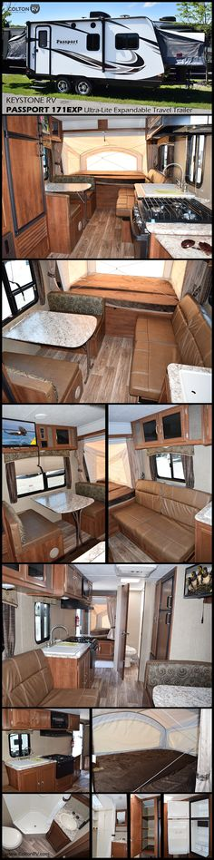 This Passport ultra-lite expandable travel trailer model 171EXP by Keystone RV features front and rear queen tent end beds that when opened up provide added floor space making it easy to move about. Beyond the kitchen area there is a fold down sofa and booth dinette. These both not only provide seating during the day but can conveniently be transformed into sleeping space at night.