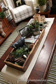 this whole house tour is beautiful. mixed woods with white, tweed sofa, cozy fireplace, gorgeous windows and i could go on and on Diy Craft Projects, Home Projects, Crafts, Christmas Runner, Christmas Time, Christmas Decor, Cozy Fireplace, Decorating Coffee Tables, Living Room Inspiration