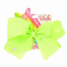 Large neon green bow with rhinestones from Claire's Jojo Siwa Birthday, 22nd Birthday, Girl Birthday, Jojo Hair Bows, Jojo Bows, Big Bows, Cute Bows, Celebrity Eyebrows, Ashley Clothes
