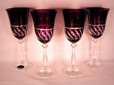 Purple Crystal Cut to Clear Wine Water Goblets Murano Italian #Murano