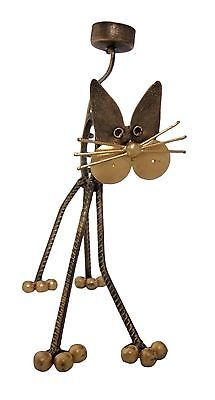 Cat shaped tea light/Candle holder, antique gold painted steel fair trade, new