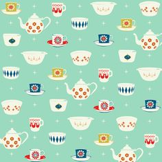 Let's dress up and have tea parties, kay? // Happy Dishes by Melody Miller // GelaSkins Textiles, Textile Patterns, Color Patterns, Print Patterns, Cute Pattern, Pattern Design, Line Texture, Little Bit, Baby Scrapbook