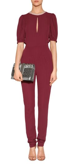 Put a sartorial spin on your next evening event in Valentino's rich wine-hued silk jumpsuit #Stylebop